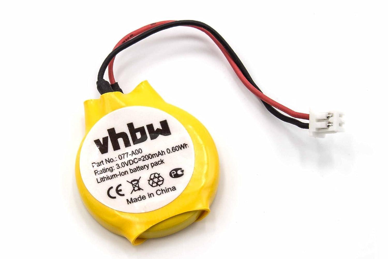 vhbw Li-Ion Bios Batterie 200mAh (3V) Notebook Laptop Dell Latitude E6520, E7240, X1 wie 077-A00, 0MR652, 313-020, GC02001DR0. VHBW4251156562898