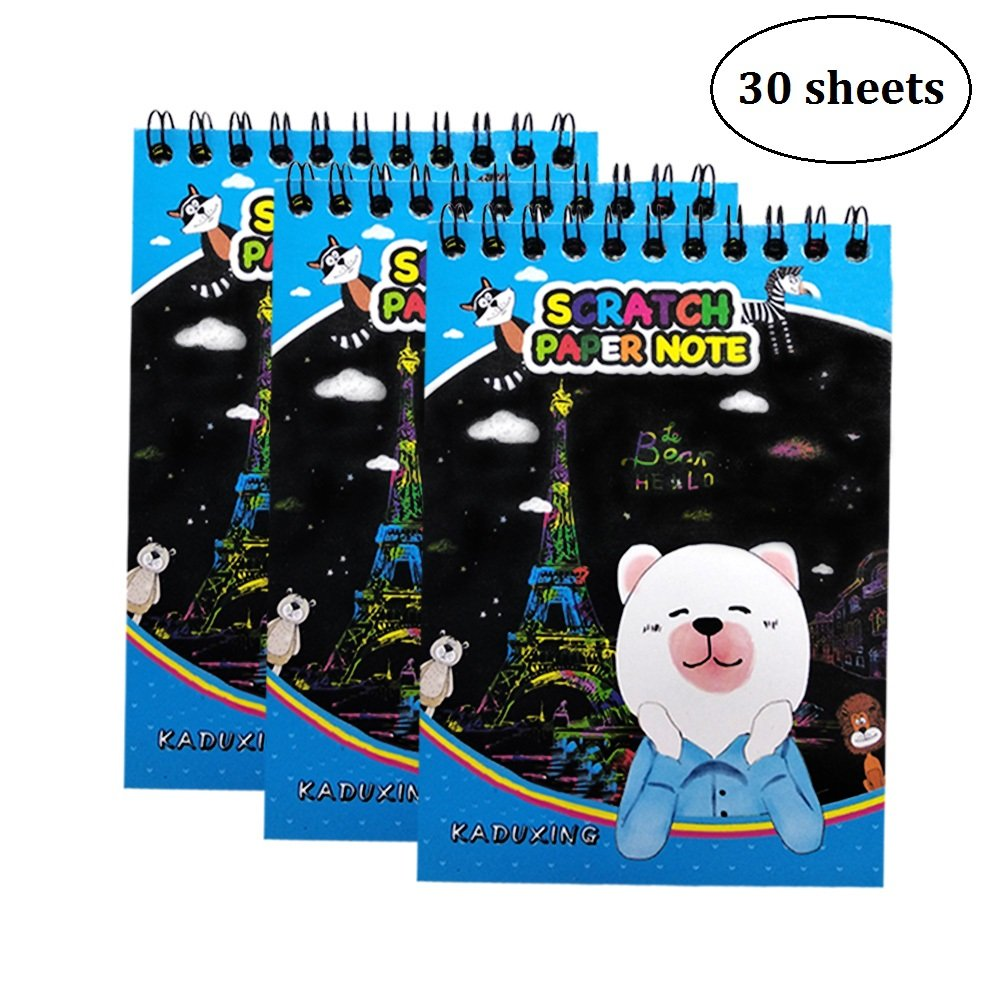 HC Scratch Art Book Set of 3 With Wood Stylus Total 30 Sheets Scratch Art for Kids M