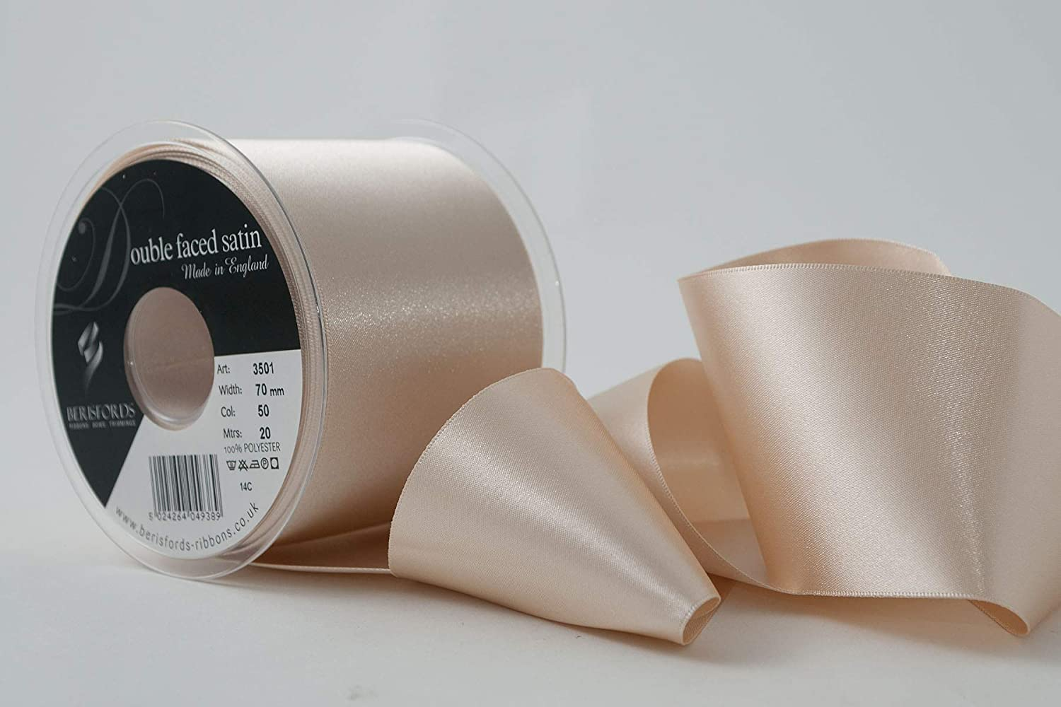 Double Faced Satin by Berisfords-Cream-9 Widths-2 Meter and 5 Meter Lengths-Weddings,Cake Decorations,Crafts,Embellishments,Trimmings