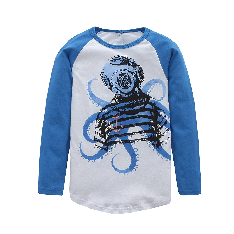 HowJoJo Boys Cotton Long Sleeve T-Shirts Robot Shirt Graphic Tees