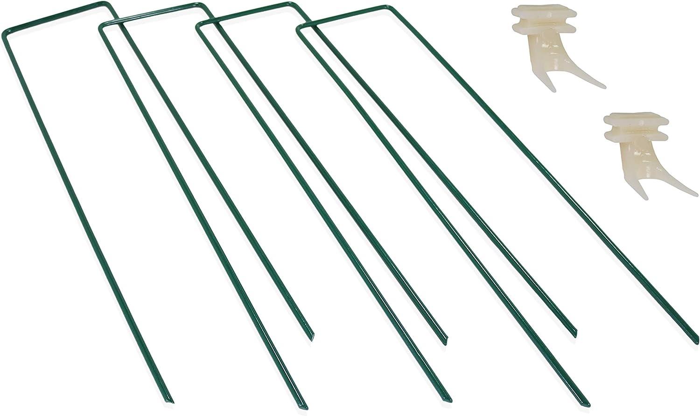 Tinkman - Juego de 4 pinzas de anclaje para mesa de pájaros, resistente y estabilizador de metal, con extremos cincelados, incluye 2 picas de frutas para comederos de pájaros