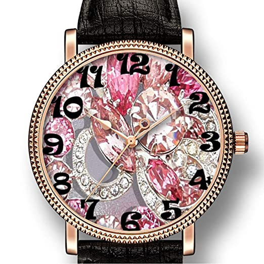 Personality Art 056 Reloj de Cuarzo para Hombre, Estilo Informal, con Diamantes de imitación, diseño Floral, Color Rosa: Amazon.es: Relojes