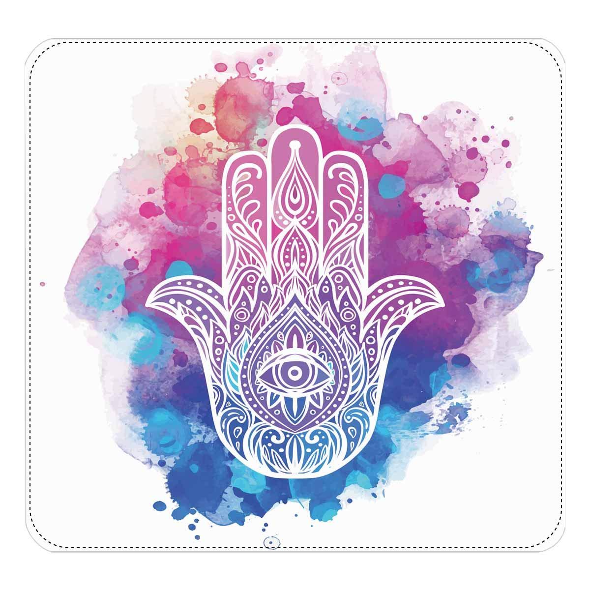 InterestPrint Womens Hand Drawn Hamsa Hand of Fatima Good Luck Amulet Clutch Purse Card Holder Organizer Ladies Purse