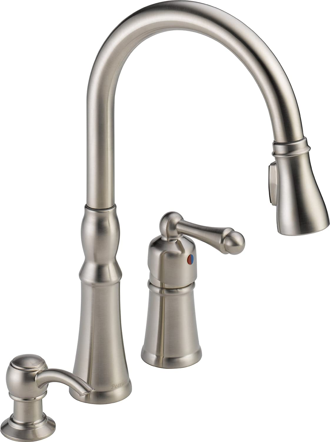 Peerless Single-Handle Kitchen Sink Faucet with Pull Down Sprayer and Soap Dispenser, Stainless P88105LF-SSSD