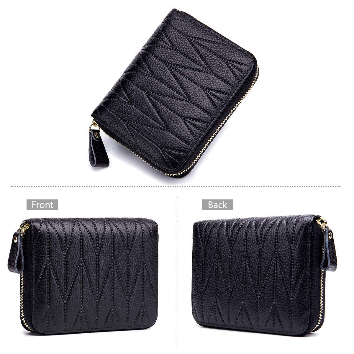 imeetu Women/men RFID Blocking Leather Credit Card Holder case Accordion Wallet 24 Slots Purses with Zipper Pocket(Wine Red) by imeetu (Image #6)