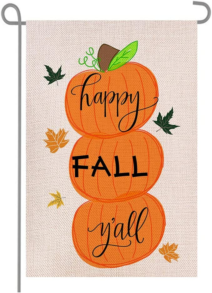 Happy Fall Pumpkins Maple Leaves Double Sided Burlap Garden Flags, Seasonal Halloween Thanksgiving Day Porch Patio Farmhouse Yard Outdoor Decoration 12.5 x 18.5 Inch