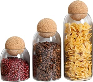 3PCS/Set Glass Storage Jar with Airtight Seal Ball for Store Food, High Capacity Coffee Glass Jars with Moisture Proof Cork Lids Jars, Decorative Kitchen Storage Containers, Easy to Use and Clean