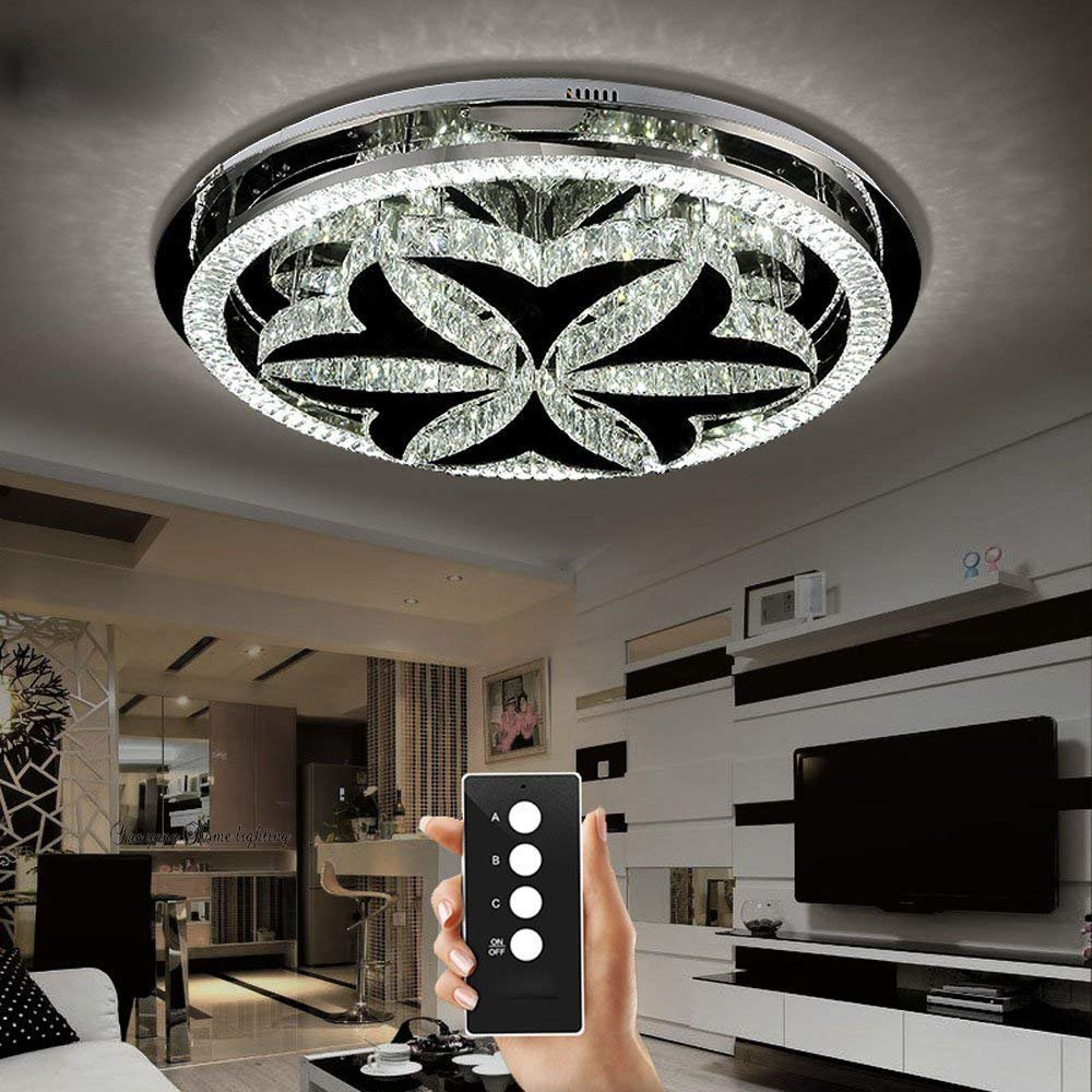 YueyangホームライティングホテルリビングルームヴィラLED 3明るさK9クリスタルミラーステンレススチールクリスタルランプLEDとリモコン付きシャンデリアシーリングライト (D45cm x H13cm) D45cm x H13cm  B07F2XSJ6T