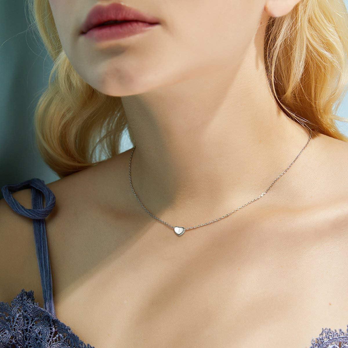 Clearine Collier Lettre Pendentif Forme Coeur Femme Initial Pr/énom Alphabet Argent 925 Bijou Cadeau Personnalis/é 3 Couleurs