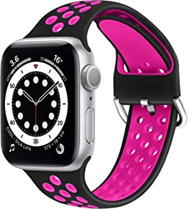 WNIPH Silicone Sports Bands Compatible with Apple Watch Band 38mm 40mm, Soft Breathable Silicone Straps Replacement Wristband for iwatch Series 6/5/4/3/2/1/SE for Men Women (Black Rose Red, 38mm/40mm)