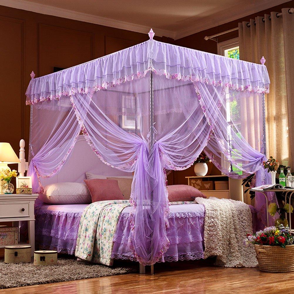 Mosquito net ZI LING Shop Moskitonetz DREI Offener Boden Edelstahl Sommer Korn 1,5 mt1,8 mt Bett 2 Meter Doppel Haushalt (16mm, lila)