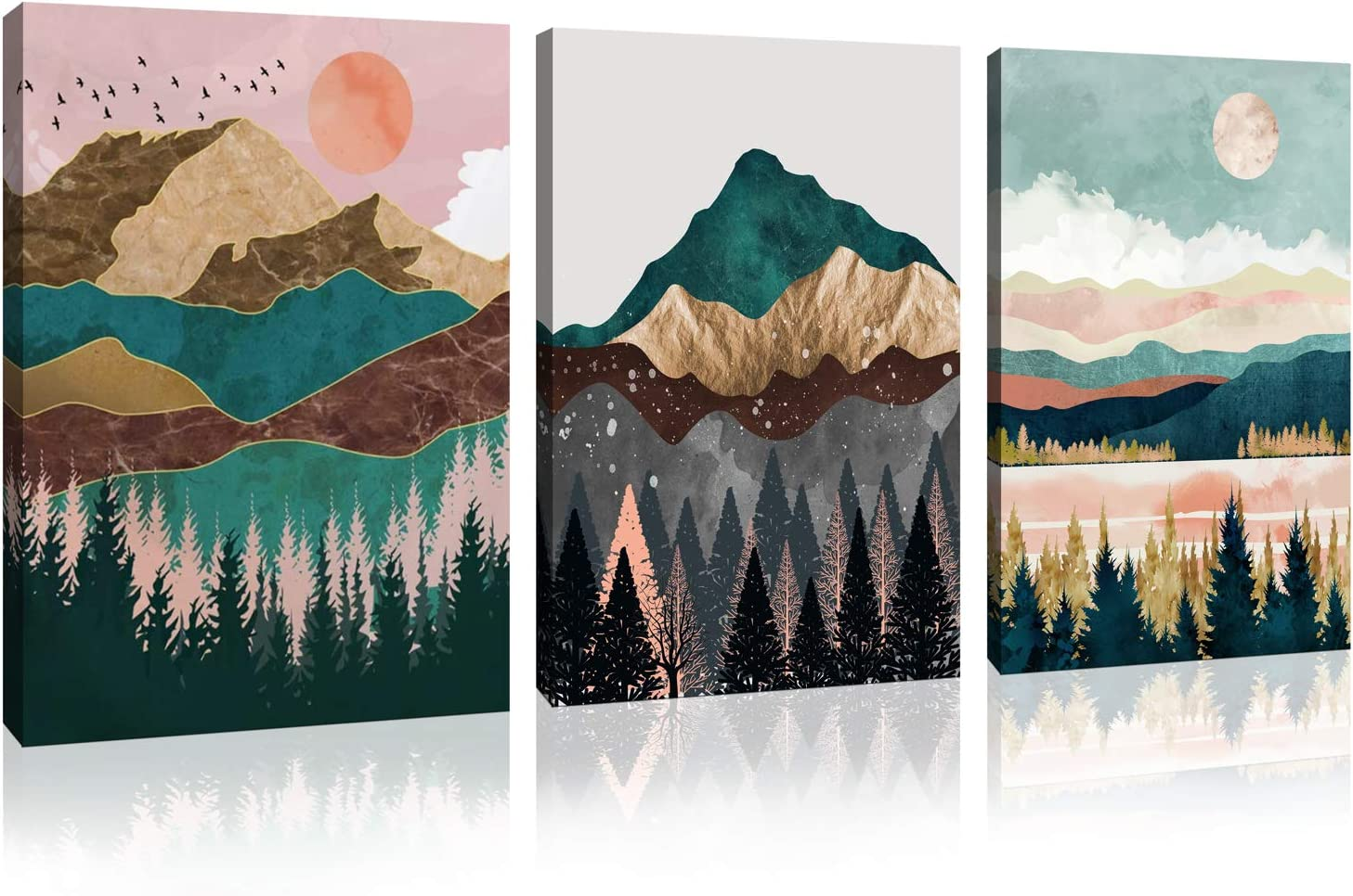 Landscape Wall Art Canvas Home Art Decoration Abstract Mountain Natural Scenery Canvas Mural Living Room, Bedroom-3 Piece Wall Decoration Framed Artwork 12x16 inches