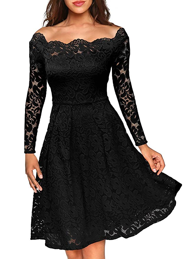 MISSMAY Women's Vintage Floral Lace Long Sleeve Boat Neck Cocktail Party Swing Dress, Large, Black