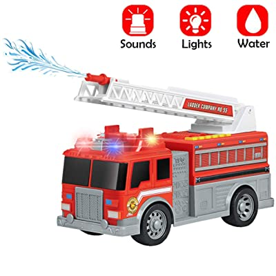 "Liberty Imports 12.5"" Jumbo Fire Engine Toy Truck Vehicle with Water Pump Hose to Shoot Water, Rescue Ladder, Flashing Lights & 6 Emergency Siren Sound Effects: Toys & Games"
