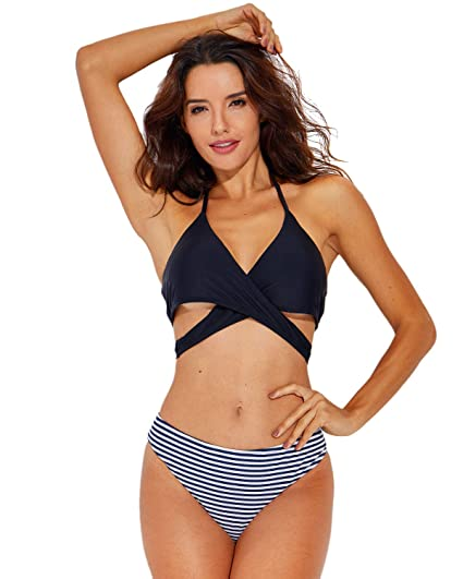 7853aae82e3 Amazon.com: KRIMUS Two Pieces Swimsuit for Women Bikini Set Bathing Suits V  Neck One-Piece: Clothing