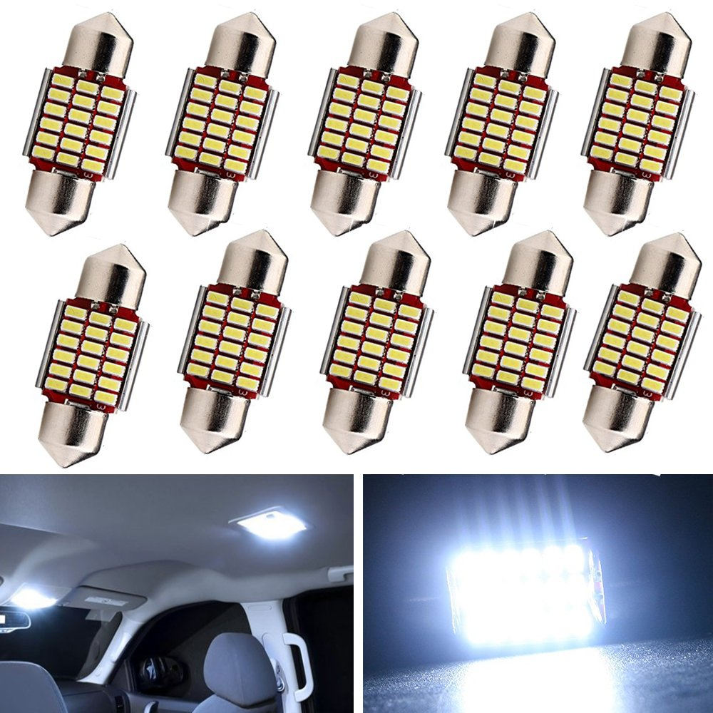 Everbright 10-Pack White 31MM 1.25 inches DE3175 DE3021 DE3022 3175 LED Canbus No Error Festoon Heat Sink Interior Map/Dome Dome/Trunk/Glove Box Lights LED Lamp (DC-12V)
