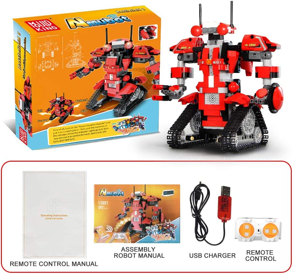 Red,392pcs Ritastar APP Remote Control Robot Building Blocks Creative Toolbox Educational Smart Tracked RC Robotics Building Bricks Set Kit S.T.E.M Learning Toy Gift for Boys Girls Kids 6 and Above