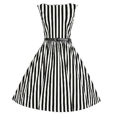 Amazon.com  Joyi Women Vintage Stripes A-line Dress Cocktail Party Picnic  Skirt Plus Size  Clothing 98ac350057e