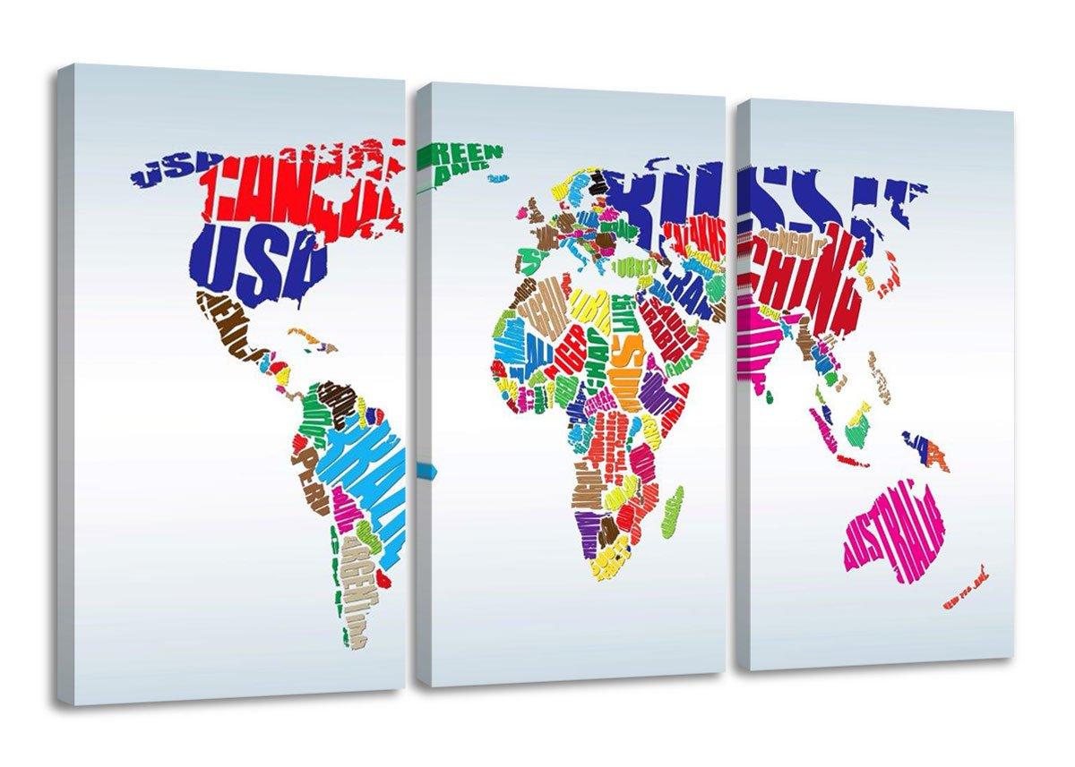 Amazon.de: Visario Leinwandbilder 1163 Bild auf Leinwand Weltkarte ...