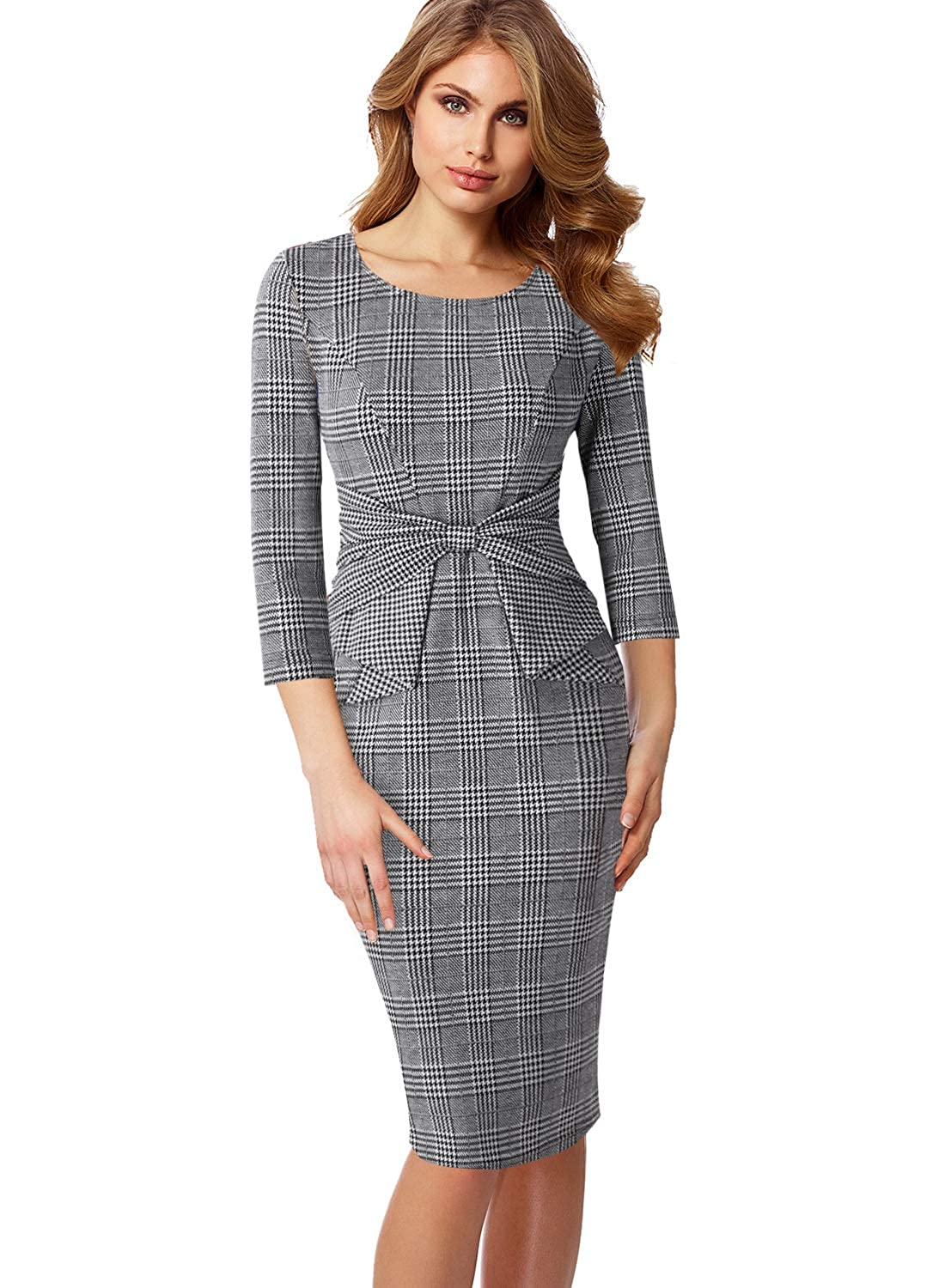 Black White Plaid 3 4 Sleeve VFSHOW Womens Pleated Bow Wear to Work Business Office Church Sheath Dress