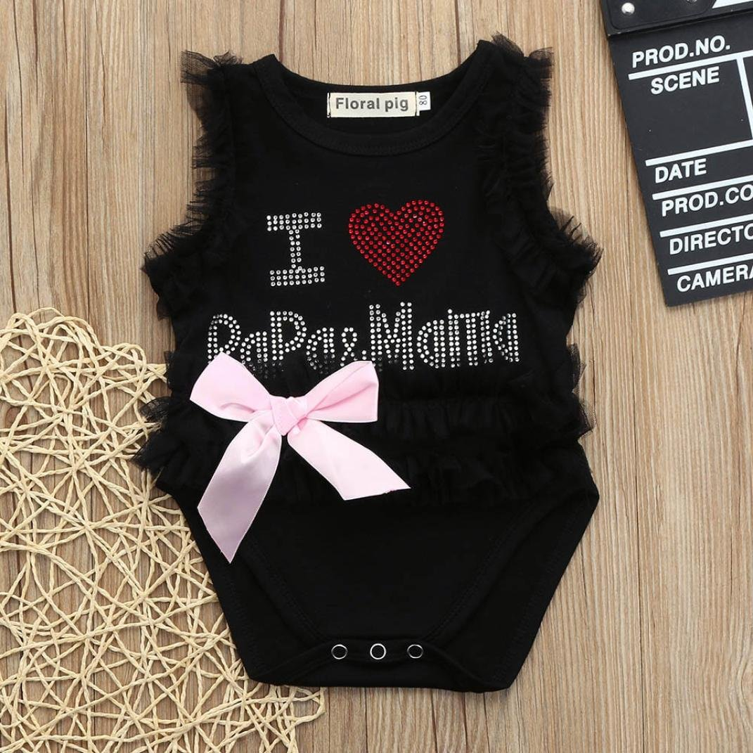 ba305cbfbf36 Amazon.com  Lurryly Newborn Baby Girls Letter Beading Lace Romper Jumpsuit  Clothing Outfits 0-2T White  Clothing