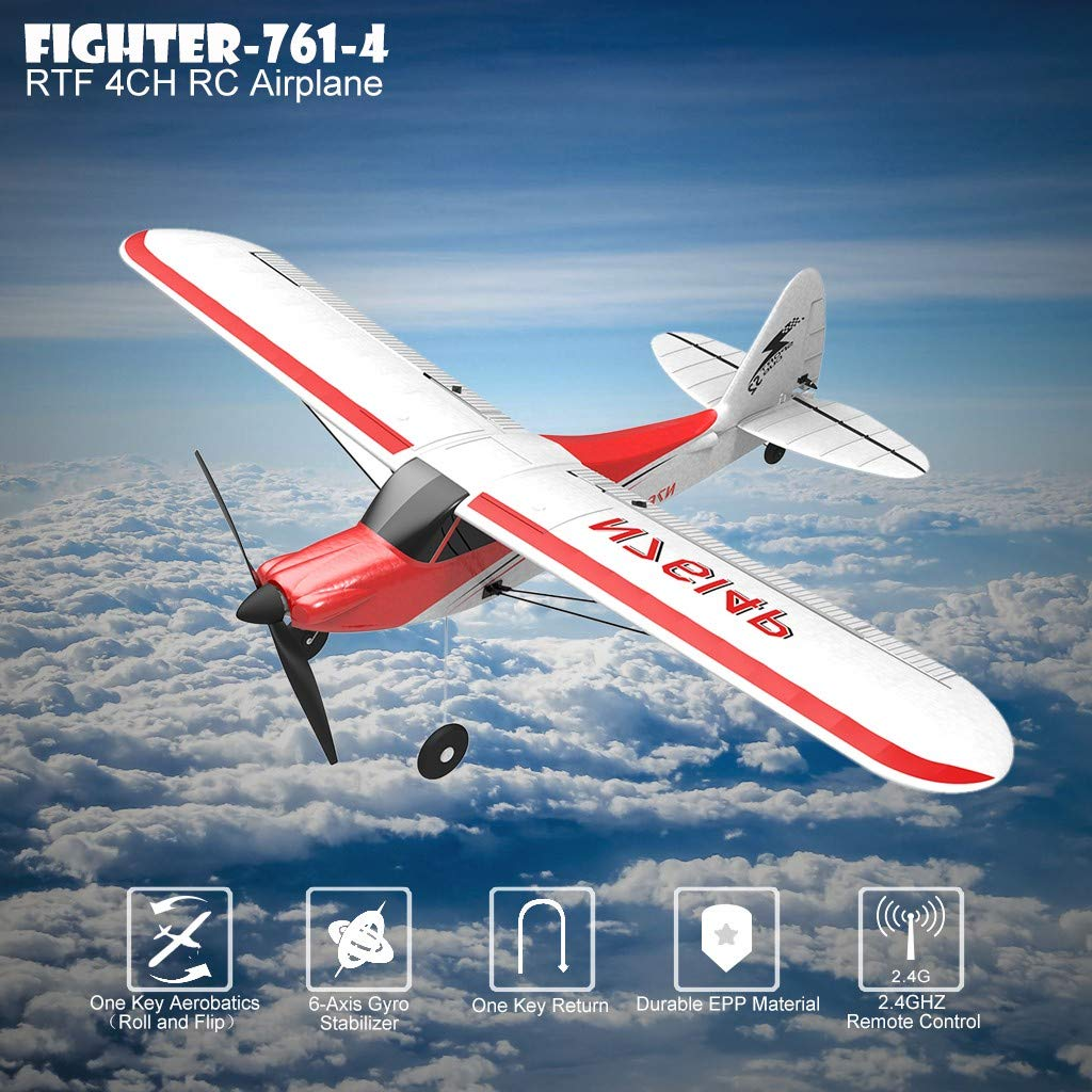 4CH Built In Gyro System Safe Technology Aircraft for Beginners to Expert Ready to Fly Christmas Halloween New Year Gift Kids over 14 Remote Control Airplane Glider 761-4 BLACKOBE RC Plane Easy