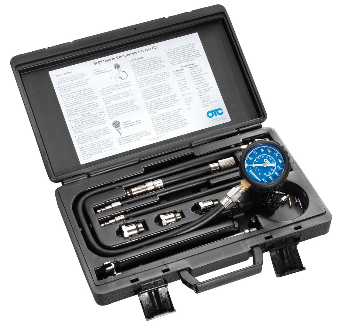 OTC 5605 Deluxe Compression Tester Kit with Carrying Case for Gasoline Engines