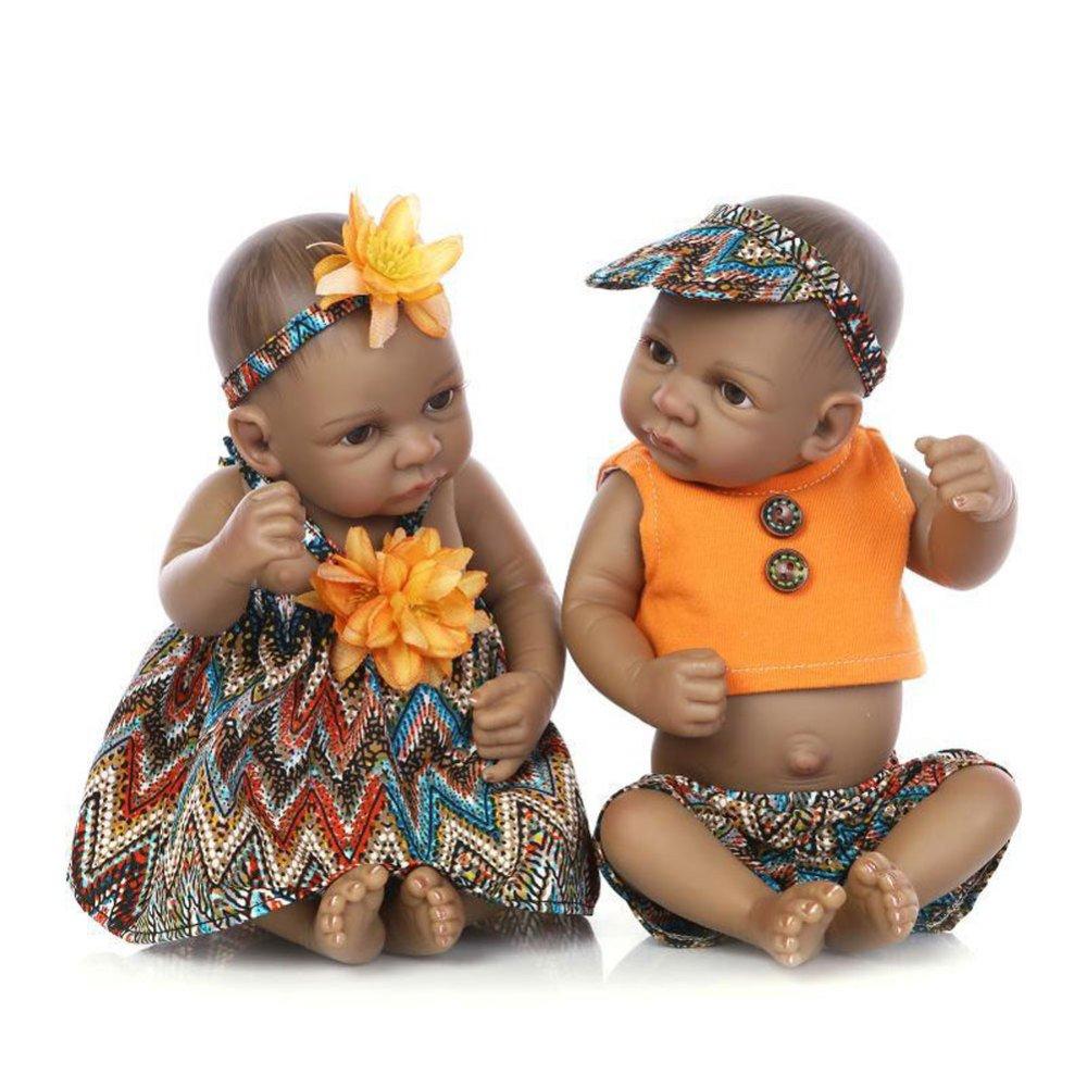 LLX Bambola Piena di Reborn di Nicery Mini Simulazione Morbida Vinile Pieno di Vinile 10 Pollici 26cm Giocattolo Realistico della Ragazza del Ragazzo,Boy+Girl