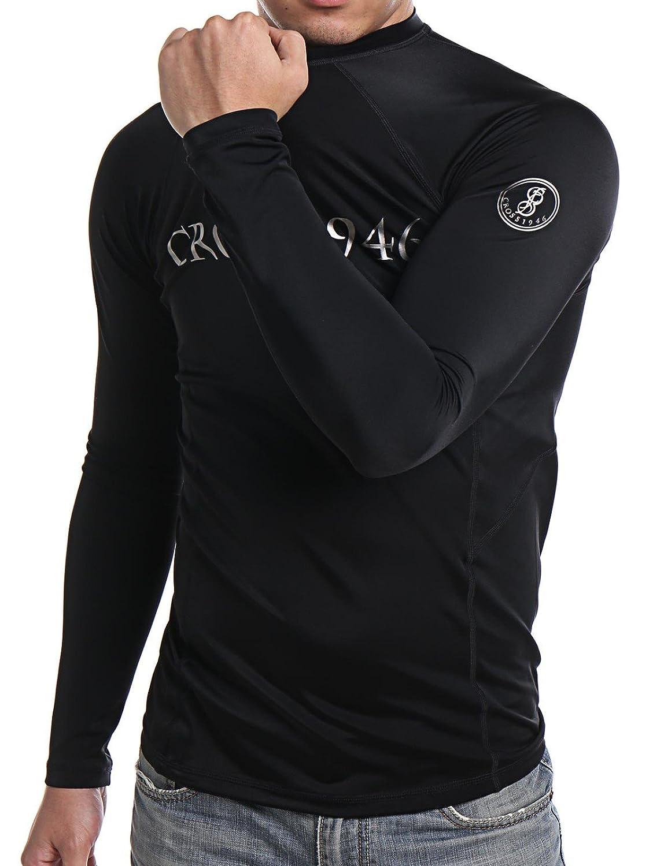 COLO Men Long Sleeve Rash Guard UPF 50 Lightweight Quick-Dry Surf Swim Shirt High Crew Neck