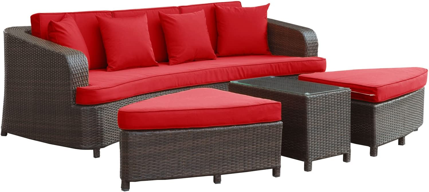 Modway Monterey Wicker Rattan 4-Piece Outdoor Patio Sectional Sofa Furniture Set with Cushions in Brown Red