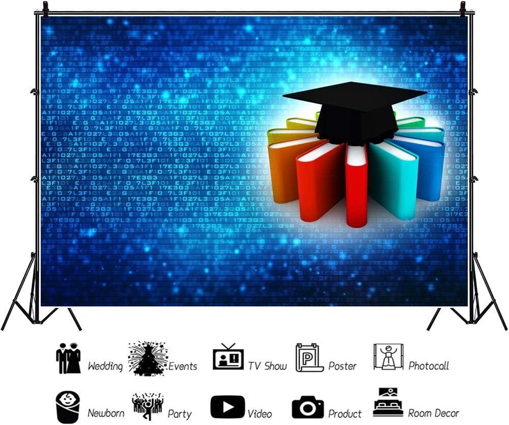 CSFOTO 5x3ft Graduation Backdrop Graduation Ceremony Backdrop for Photography School Prom Decor Banner Congratulations Graduates Graduation Cap Blue Sky White Cloud Students Portrait Polyester