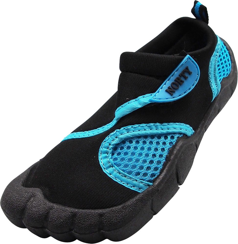 NORTY Little Girl's Skeletoe Mesh Waterproof Athletic Aqua Socks for Pool Beach, Black, Turquoise 40319-2MUSLittleKid