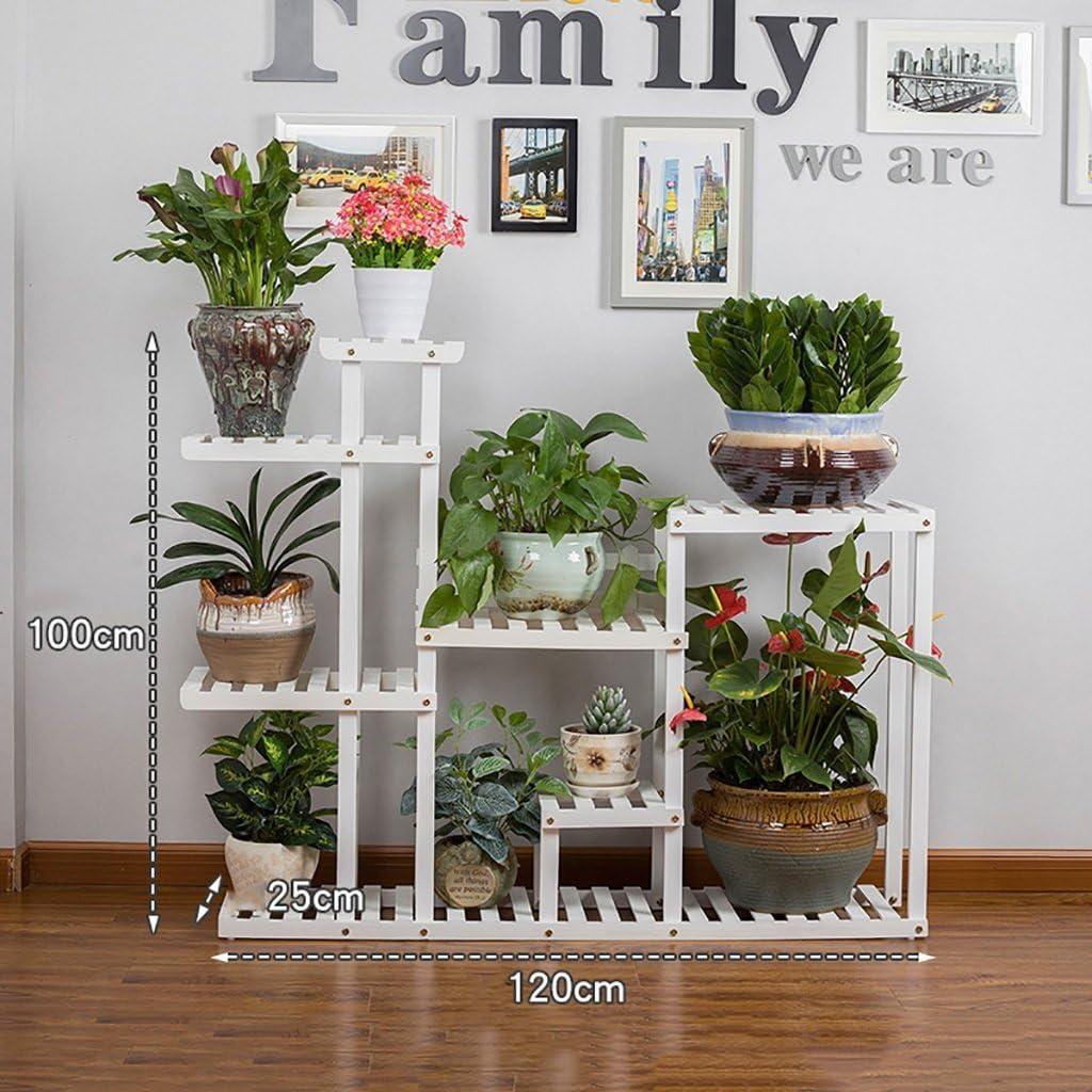 Pergolas / Estante de flores balcón de madera para montaje en suelo de madera maciza multipiso para interiores y exteriores, estante de flores moderno, minimalista, sala de estar, creativo flor, estante de