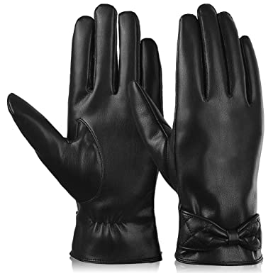 6,5   7   7,5   8    8,5    //G//16 Damen Echt Leder Handschuhe Gefüttert Gr