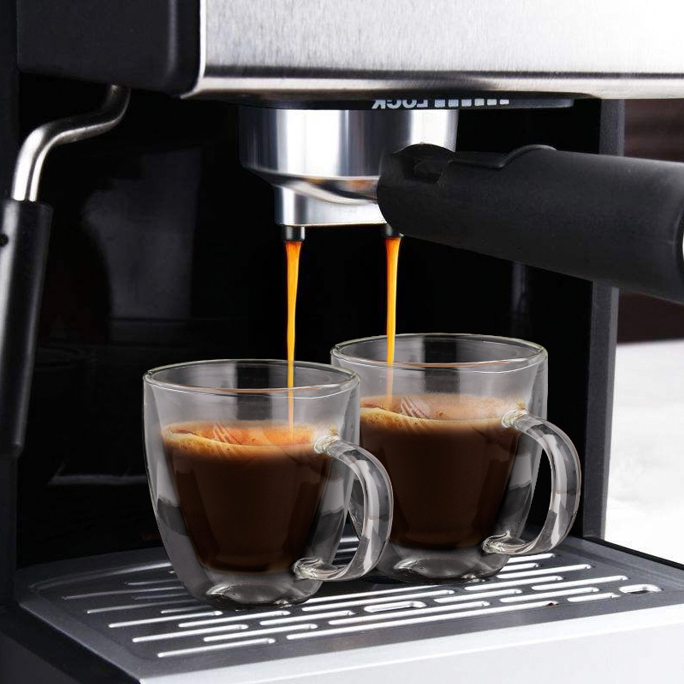 Aozita Glasses Espresso Mugs with Spoons, 5.4-Ounce Cappuccino/Latte Cups, Double Walled Thermo Espresso Cups, Set of 2 by Aozita (Image #4)