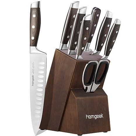 Amazon.com: Juego de cuchillos de 8 piezas con bloque, acero ...