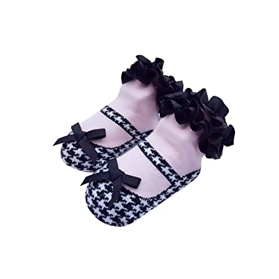 ACVIP 1 Paire Bébé Mignon Chaussettes Coton Dentelle avec Noeud Papillon Noir Filles Garçons 6-24 Mois