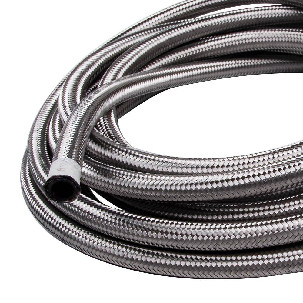maXpeedingrods 8AN 16.4FT Nylon Steel Braided Oil Fuel Line Hose End Fitting Adaptor Kit AN8 16.4 Feet Black