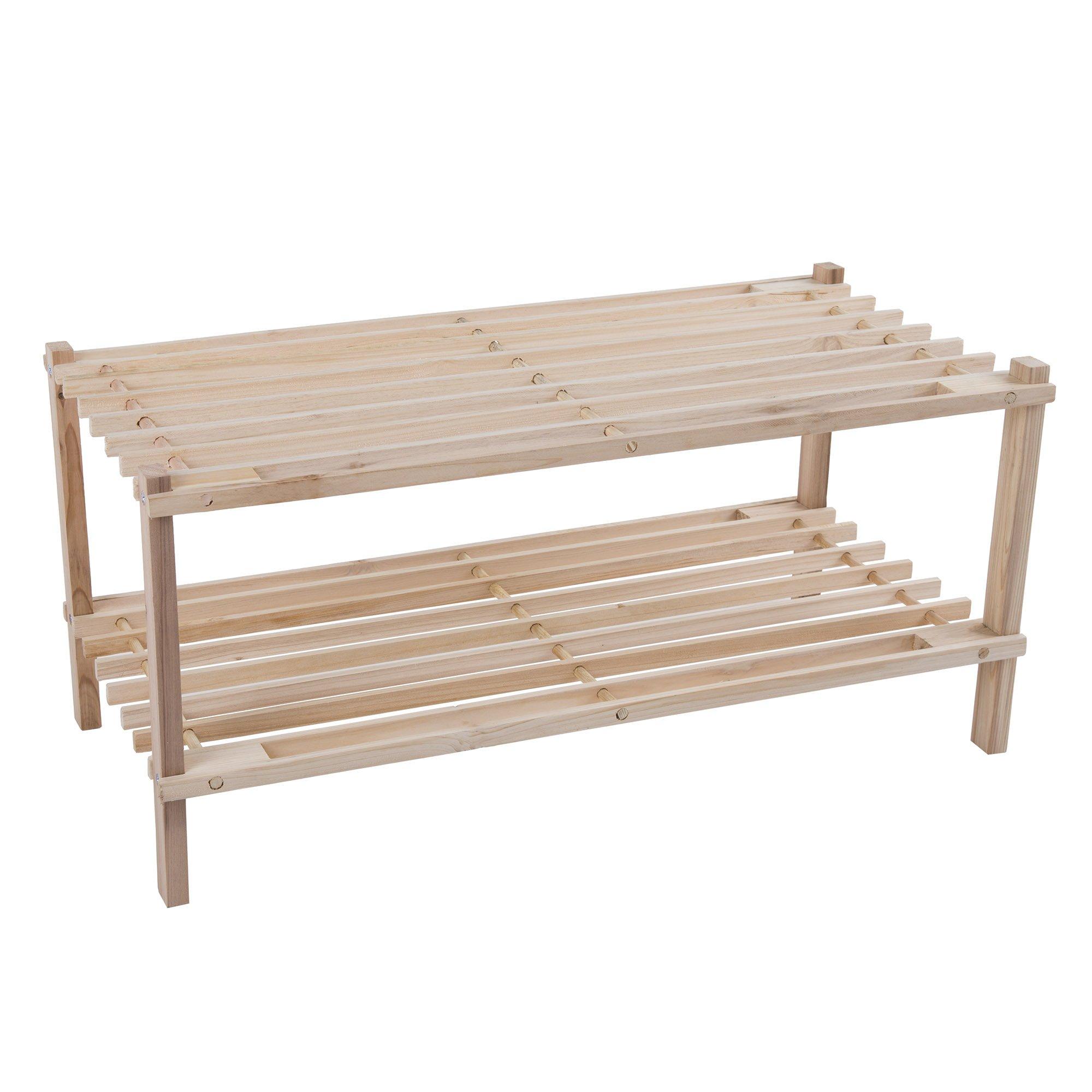 Lavish Home Wood Shoe Rack, Storage Bench – Closet, Bathroom, Kitchen, Entry Organizer, 2-Tier Space Saver Shoe Rack