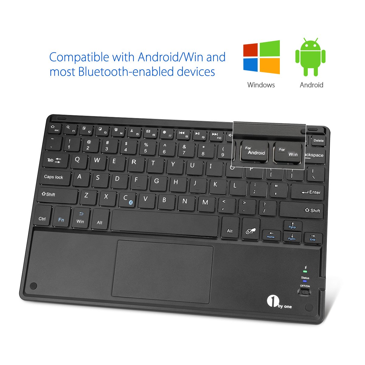 1byone Ultra-Slim Wireless Bluetooth Keyboard with Built-in Multi-touch Touchpad and Rechargeable Battery for Android and Windows, Black by 1byone (Image #4)