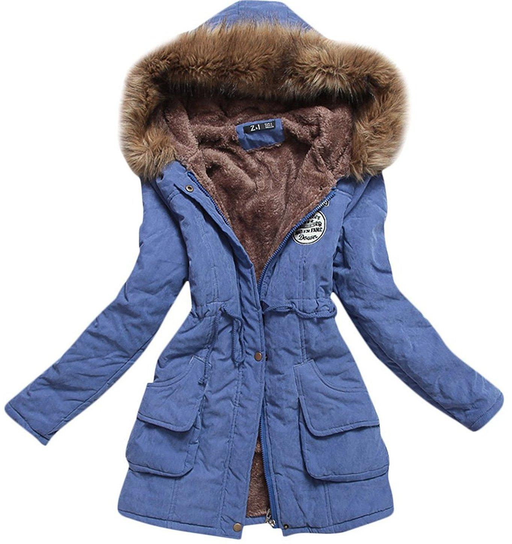 Aro Lora Women's Winter Warm Faux Fur Hooded Cotton-Padded Coat Parka Long Jacket US 12 Blue