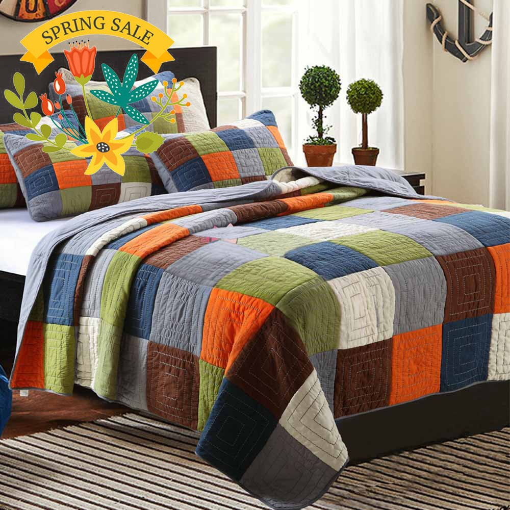 Cotton Patchwork Quilt Bedspread Set Full Queen Plaid Print Quilt Coverlet Set Luxury Reversible Quilt Set for Kids Adults Super Soft Queen Quilt Set for Boys Girls, Style4 by AMWAN