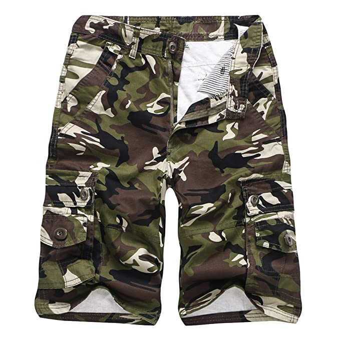 a64dd2aa67 MODOQO Men's Camo Shorts, Lightweight Cotton Relaxed Fit Work Slim Fit Zip  Off Cargo Pants
