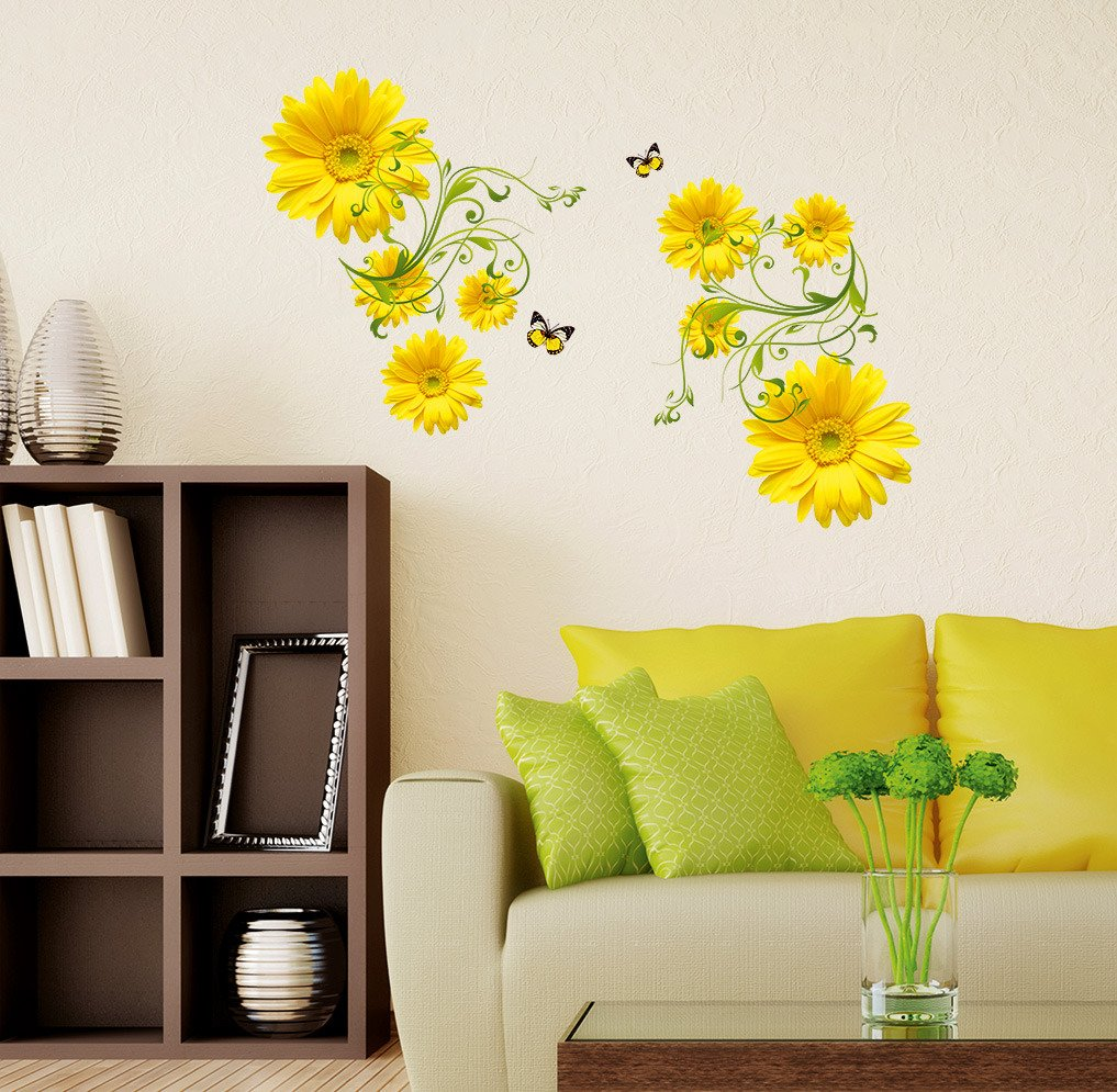 Buy Decals Design \'Flowers Yellow Daisy with Green Vine\' Wall ...
