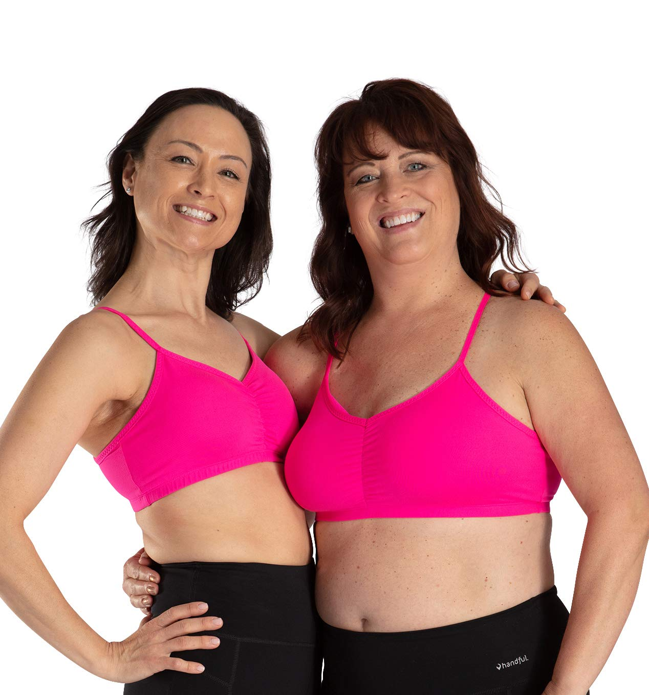 Handful Women's Adjustable Sports Bra with Removable Pads, Seamless Workout Bras, Battle Cry Pink, X-Small