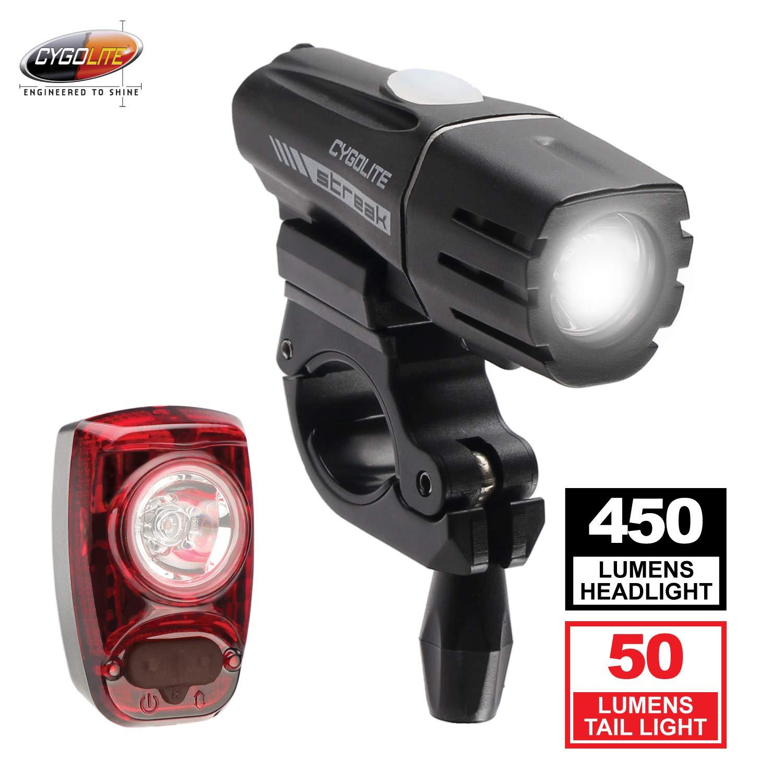 Cygolite Streak 450 Lumen Headlight & Hotshot SL 50 Lumen Tail Light USB Rechargeable Bike Light Combo Set