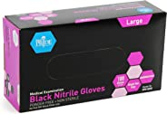 Medpride Medical Examination Nitrile Gloves| Large Box of 100| Black, Latex/Powder-Free, Non-Sterile Gloves| Professional Gr