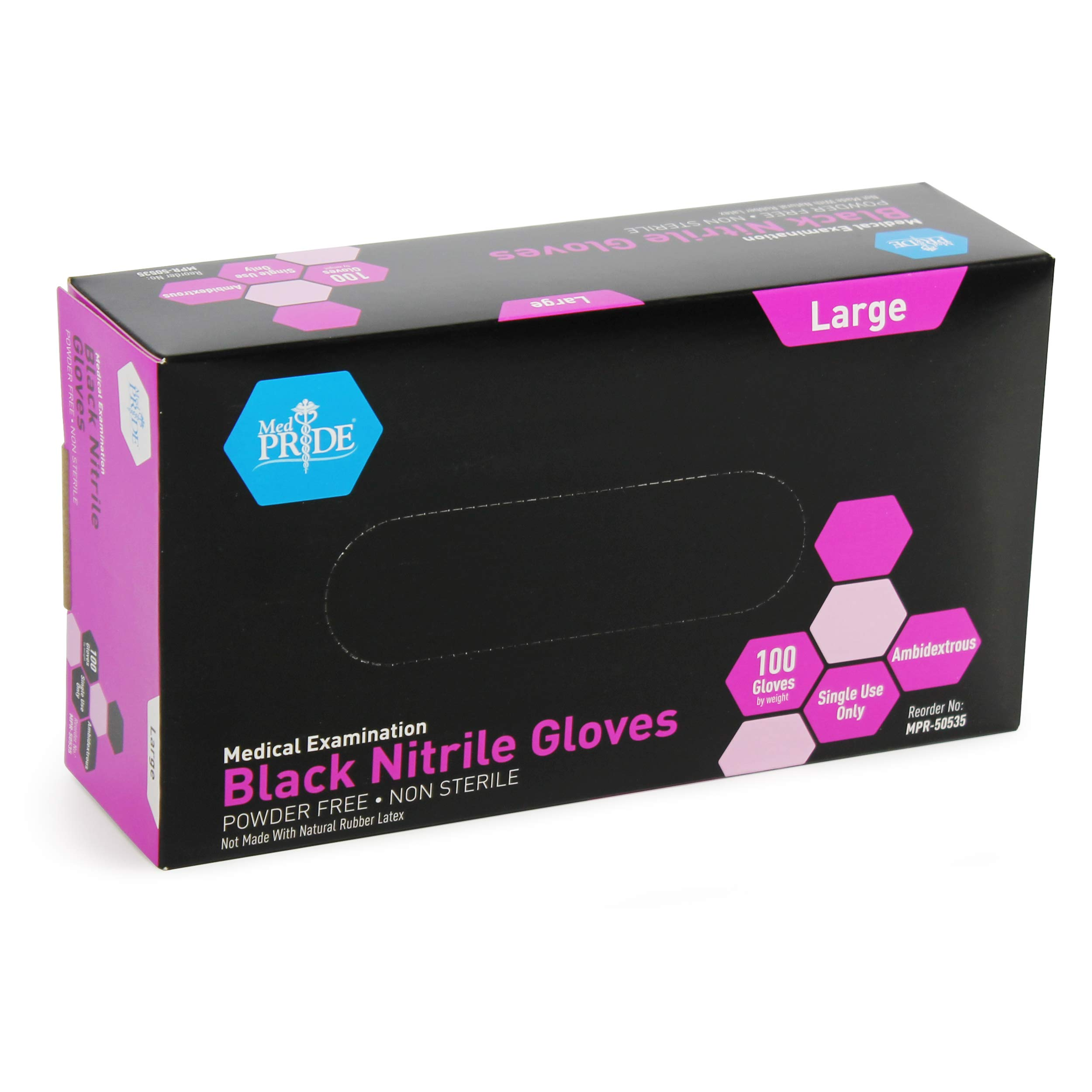 Medpride Medical Examination Nitrile Gloves| Large Case of 1000| Black, Latex/Powder-Free, Non-Sterile Gloves| Professional Grade for Hospitals, Law Enforcement, Food Vendors, Tattoo Artists, Home Use by MED PRIDE (Image #4)