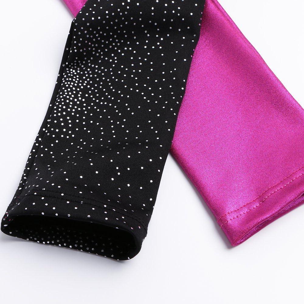 Long Sleeve Leotards for Girls Gymnastics Ballet Dance Outfit Sparkle Stars Black Blue