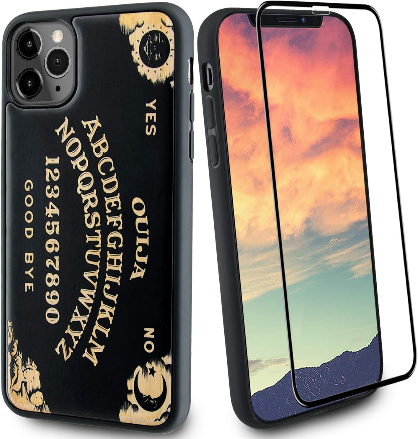 Gift by Angel Ouija Board Black Wood Phone Case Compatible with iPhone 11 Includes Strong 9H Glass Screen Protector, Engraved in USA, Wireless Charging Compatible (6.1 inches)